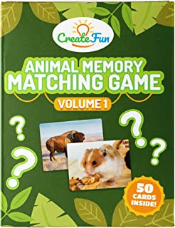 CreateFun Animal Memory Matching Card Game | for Toddlers, Preschool, Kindergarten and Families | Fun for The Home, School, Parents, Speech Therapy and ESL