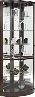 SOFAWEB.COM Brown Half-Round Corner Curio Cabinet