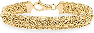 Miabella 18K Gold Over Sterling Silver Italian Byzantine Beaded Mesh Link Chain Bracelet for Women 6.5, 7, 7.5, 8 Inch 925 Handmade in Italy