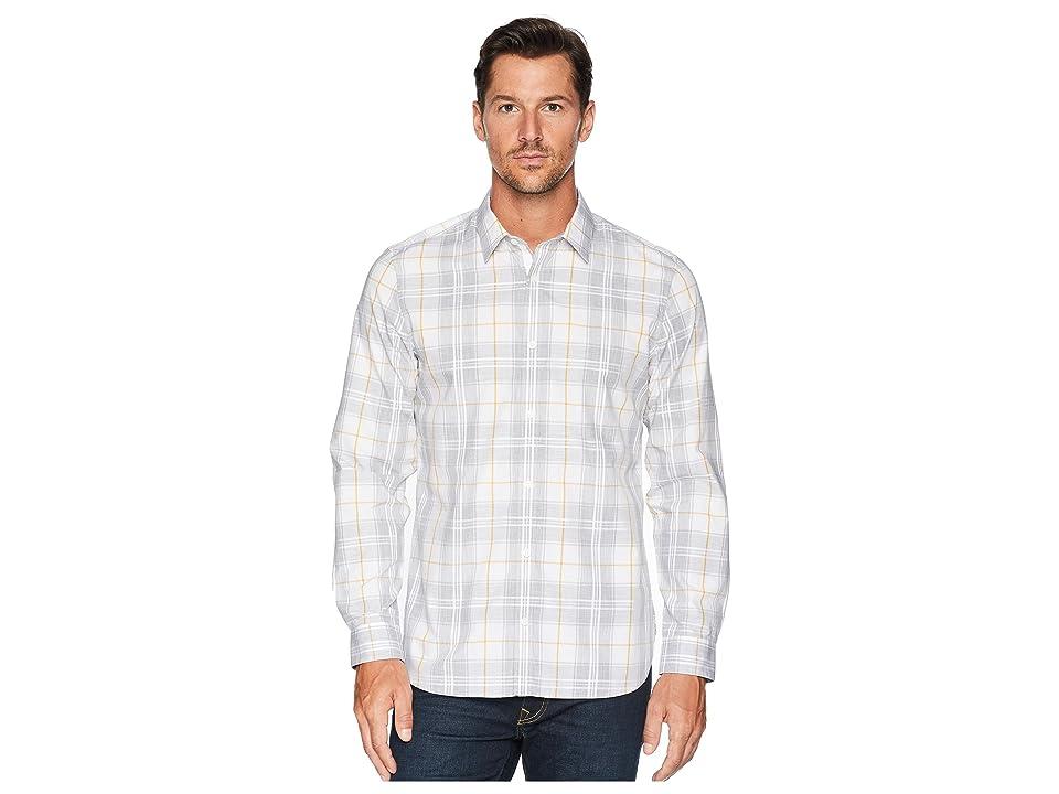 Calvin Klein Plaid Sport Shirt (Standard White) Men