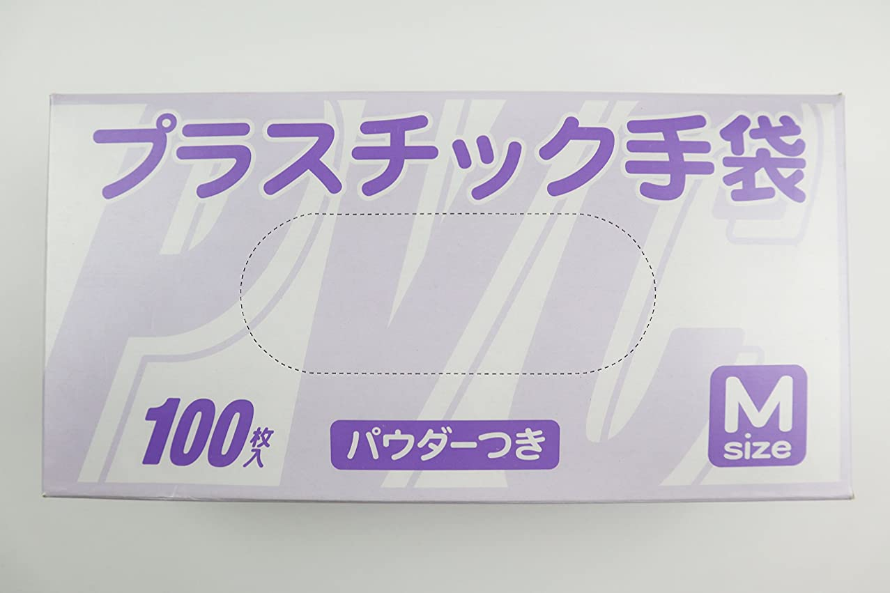 愚かな遅い説教使い捨て手袋 プラスチック グローブ 粉付 Mサイズ 100枚入×20個セット まとめ買い