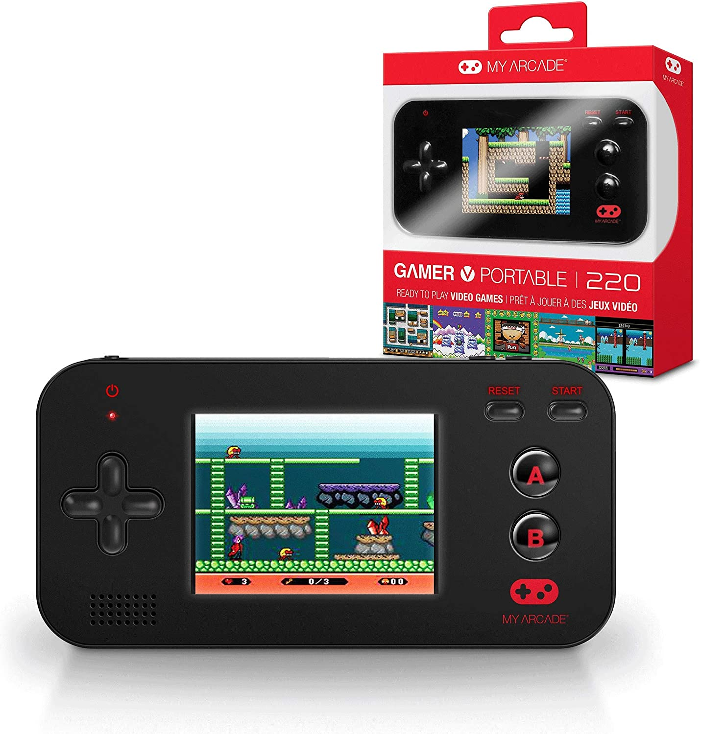 Amazon Com My Arcade Gamer V Portable Handheld Gaming System 220 Retro Style Games Lightweight Compact Size Battery Powered Full Color Display Black Electronic Games Toys Games