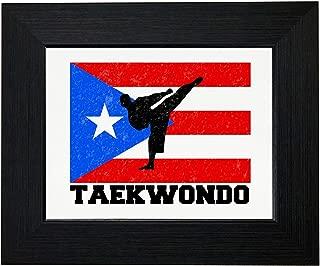 Royal Prints Puerto Rico Olympic - Taekwondo - Flag Framed Print Poster Wall or Desk Mount Options