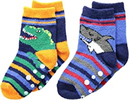 Dino and Shark Non-Skid Slipper Socks 2-Pack (Infant/Toddler/Little Kid)