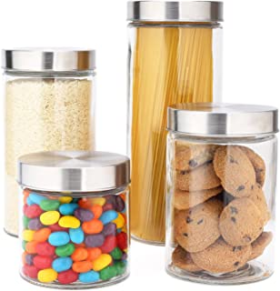 EatNeat 4-Piece Beautiful Glass Kitchen Canister Set with Stainless Steel Lids, Round Dry Food Storage Containers