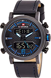 Naviforce Men's Black Dial Genuine Leather Analogue Classic Watch - NF9135-BBEBE