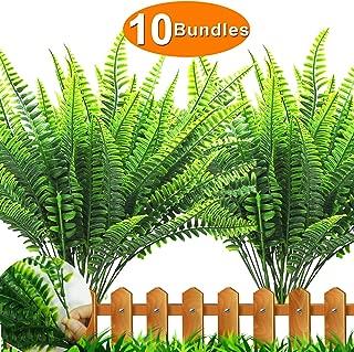 Artificial Plants Boston Fern,10 Bundles Fern Bush Plant Bushes Faux Outdoor UV Resistant Persian Greenery Shrubs Plants Artificial Fake Flowers Indoor Outside Hanging Planter Home Garden Decor
