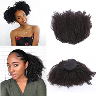 Anrosa Afro Kinky Drawstring Ponytail Afro Ponytail for Natural Hair Kinky Curly Drawstring Ponytail Afro Ponytail Drawstring Human Hair Ponytail for Black Women Curly Ponytail Hair Piece 1b 16 Inch
