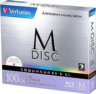 Verbatim バーベイタム M-DISC 長期保存 ブルーレイディスク 1回記録用 BD-R XL 100GB 5枚 ホワイトプリンタブル 片面3層 1-6倍速 DBR100YMDP5V1