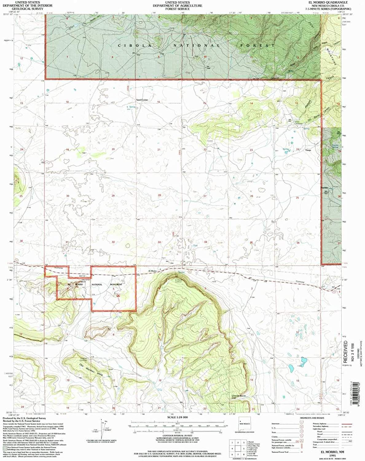 El Morro NM topo map, 1 24000 Scale, 7.5 X 7.5 Minute, Historical, 1995, Updated 1998, 27.06 x 22.06 in