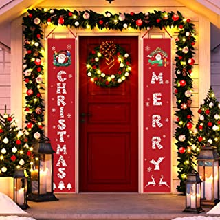 Tobeape Christmas Decorations Indoor Outdoor, Merry Christmas Porch Signs for Front Door Yard Home Decor, Hanging Banners ...