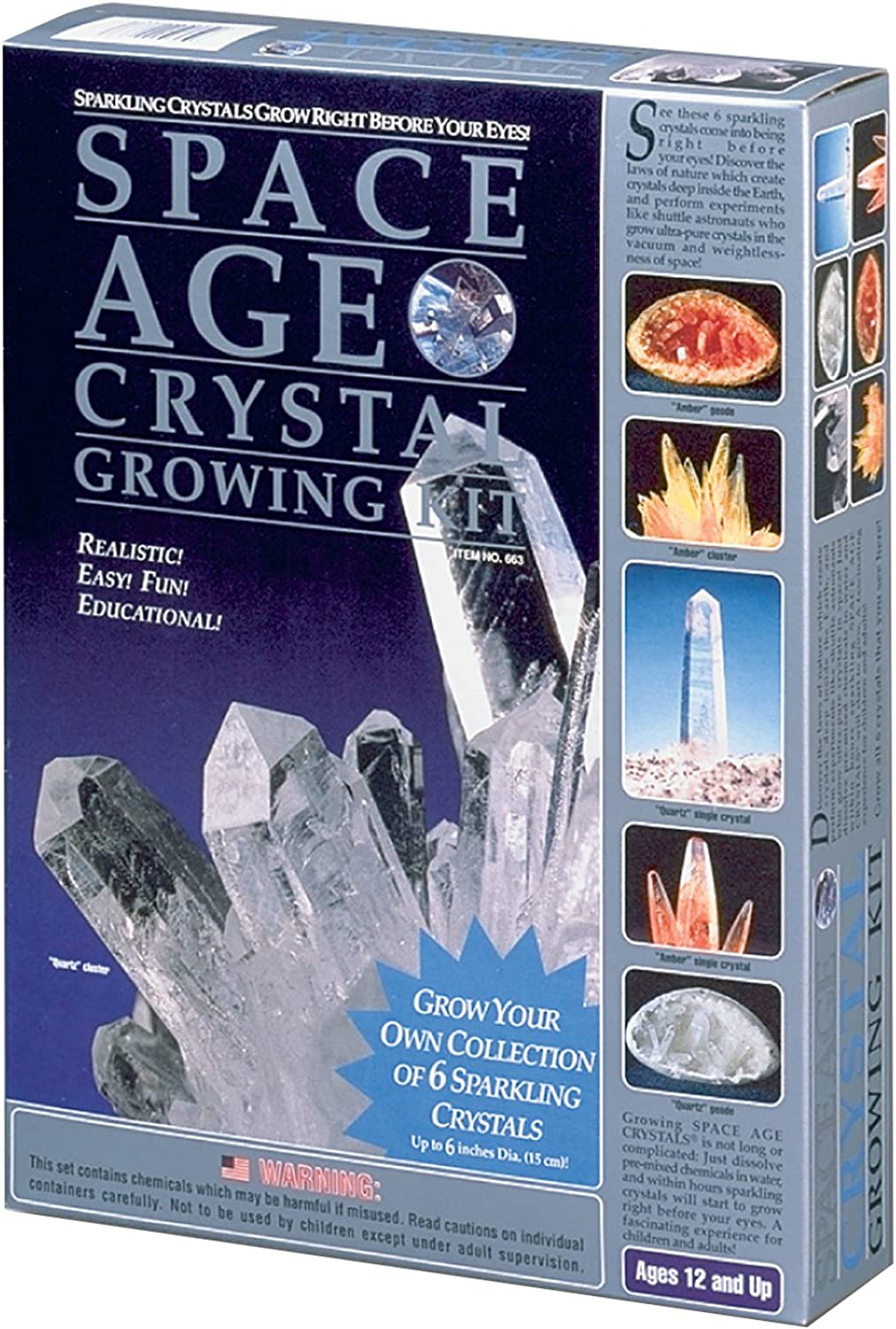 Space Age Crystal Growing Kit  6 Crystals (Quartz and Amber)