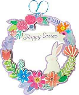 Paper Wreath Happy Easter Door Decoration with Glittery Flowers and Bunny