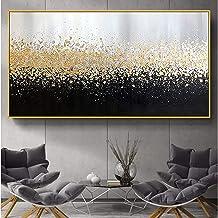 Handgeschilderd Olieverfschilderij - Abstract Modern Goud En Zwart Landschap Paletmes Textuur Handgeschilderd Olieverfschi...