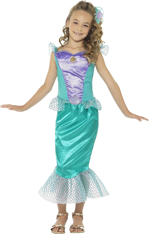 Smiffy'S 48003S Disfraz Deluxe De Sirena Con Vestido Y Pinza Para El Pelo, Verde, S - Edad 4-6 Años