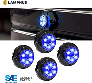 LAMPHUS 4pc SnakeEye III LED Hideaway Strobe Light [SAE Class 1] [IP67 Waterproof] [72 Flash Modes] [TBT Function] Emergecy Warning Lights for Police Fire Construction Vehicle - Blue