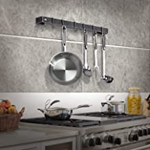 """product image for Handcrafted 24"""" Utensil Bar w 6 Hooks Hammered Steel"""