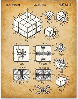 Rubik's Cube - 11x14 Unframed Patent Print - Makes a Great Gift Under $15 for Game Room Decor