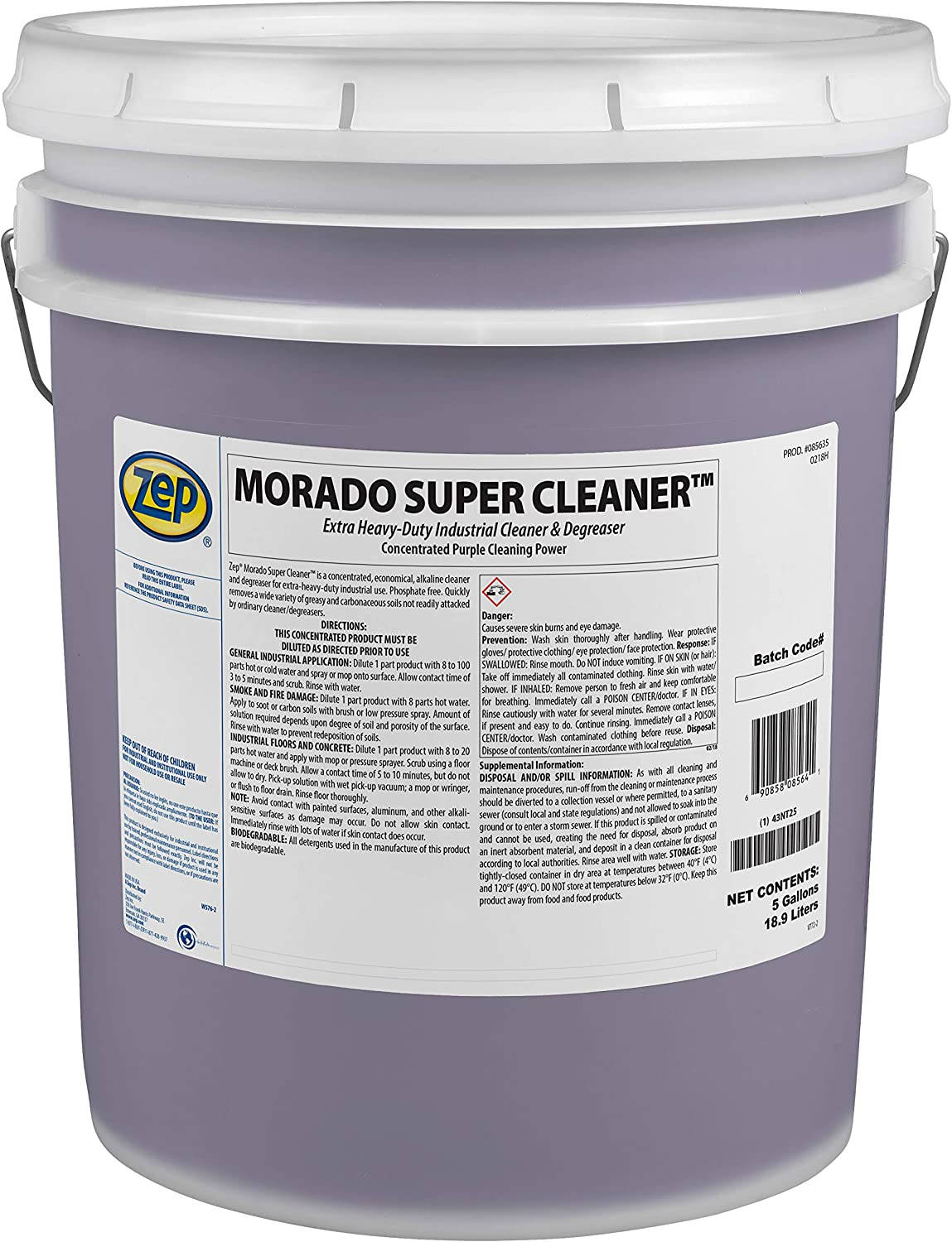 Zep Morado Complete Free Shipping Concentrated Direct store Super Cleaner 5 85635 Ind Pail 1 Gallon