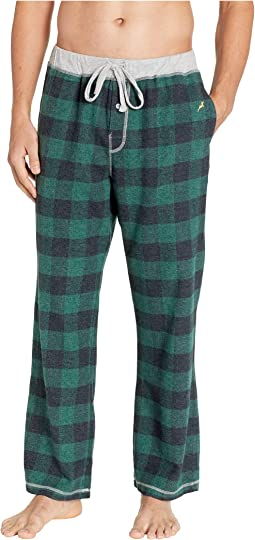 Melange Buffalo Check Flannel Pajama Pants with Heather Trim