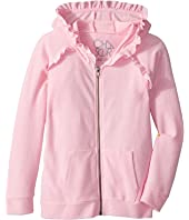 Chaser Kids - Long Sleeve Cozy Zip Raglan Hoodie with Ruffle Detail (Little Kids/Big Kids)