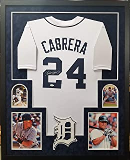 Miguel Cabrera Detroit Tigers Autograph Signed Custom Framed Jersey White Suede Matted 4 Picture JSA Witnessed Certified