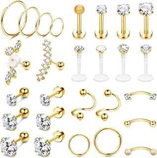 Ubjuliwa 27Pcs 16G Cartilage Earrings Stud Hoop for Women Stainless Steel Helix Piercing Tragus Earrings Forward Conch Pie...