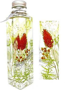 【Amanda Eriza】 ハーバリウム Herbarium 自然素材 ガラスボトル (角型) プリザーブドフラワー ドライフラワー インテリア プレゼント 贈り物 (フレッシュオレンジ)