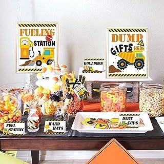 Construction Food Tent Cards Set - Construction Birthday Party Supplies - Construction Dessert Buffet Decorations Kit Kids...