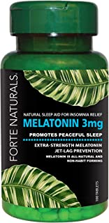 MELATONIN FORTE NATURALS 3mg Helps You Fall Asleep Faster Quick Dissolve Bedtime Supplement, Stay Asleep Longer Fast Acting Natural Sleep Insomnia Jet Lag Relief Sleeping Pills for Kids Children Dogs