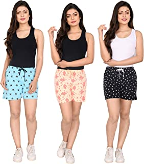 StyleAOne Women's Cotton Printed Multi-Coloured Shorts - Pack of 3