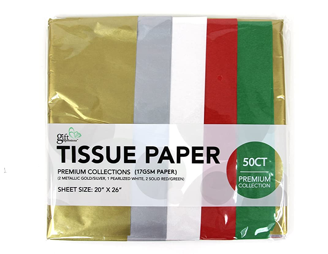 50 ct pearlized/metallic collection (gold, silver, pearl white, red, green), 17GSM ( thick, durable, crispy) premium quality tissue paper