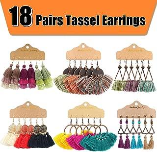 18 Pairs Tassel Earrings with 6 Styles Colorful Tassel...