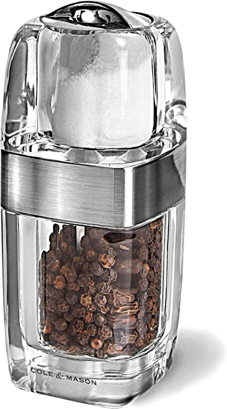 COLE MASON Seville Salt Shaker And Pepper Grinder Combo Acrylic Combination Mill Includes Premium Salt And Peppercorns