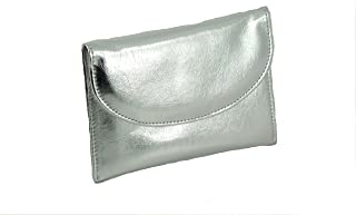 Ladies Faux Leather Wallet Clutch Bag Purse Coin Pouch in Metallic Silver