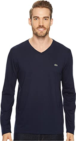 Lacoste - Long Sleeve Pima Jersey V-Neck T-Shirt
