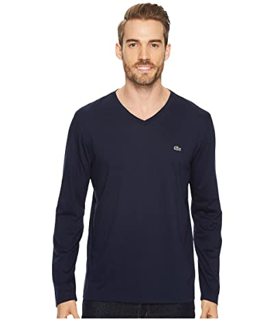 Lacoste Long Sleeve Pima Jersey V-Neck T-Shirt (Navy Blue) Men