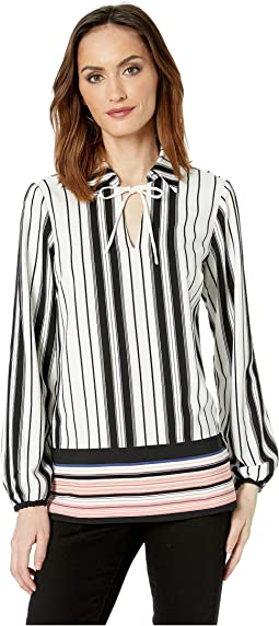 Striped Color Block Blouse with Collar