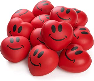"""Neliblu Heart Stress Balls - Valentines Day Red Hearts 3"""" Smile Face Squeeze Stress Relief Heart Shaped Balls; Fun Party F..."""