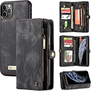 iPhone 11 Pro Wallet Case,Zttopo 2 in 1 Leather Zipper Detachable Magnetic 11 Card Slots Card Slots Money Pocket Clutch Cover with Free Screen Protector for 5.8 Inch iPhone Case