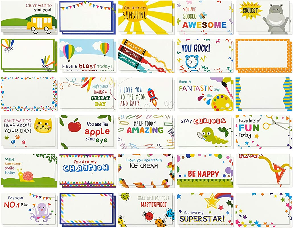 Juvale Pack Of 60 Lunch Box Notes Colorful Inspirational And Motivational Cards For Kids 2 X 3 5 Inches