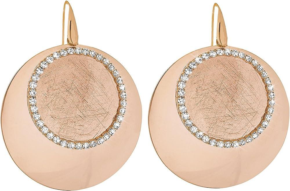 Stroili orecchini per donna in metallo lucido/satinato rosato e cristalli  - new moon 1607311