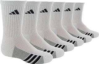 adidas Youth Kids-Boy's/Girl's Cushioned Crew Socks (6-Pair), White/Black/Light Onix, Medium, (Shoe Size 13C-4Y)