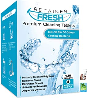 Retainer Reinigingstabletten - 120 tabletten 4 maanden voorraadhouder vers-, Brite- en vlekvrij - Retainer Cleaner Tablet,...