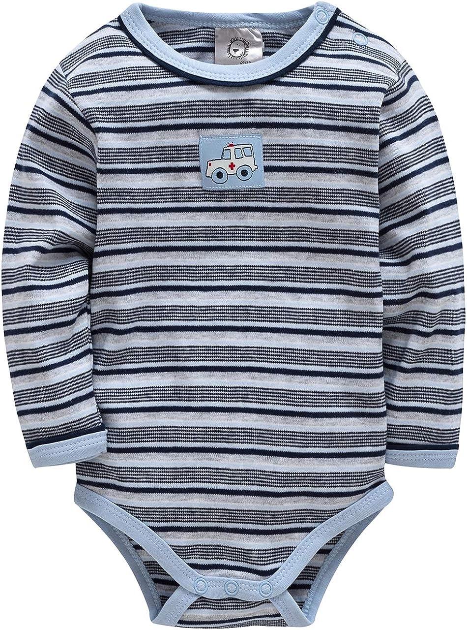 kavkas Baby Boy Long Sleeve Bodysuits 100% Cotton Soft Onesies for Newborns, Blue Stripes (3-24 Months)