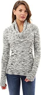 PattyBoutik Women Scoop Neck with Infinity Scarf Marled Sweater
