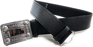 Black Leather Plain Scottish Highland Kilt Belt With Celtic Design Chrome Buckle