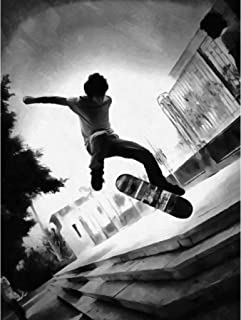 FINE ART PRINTS Skateboarder Trick BW Impression sur Toile