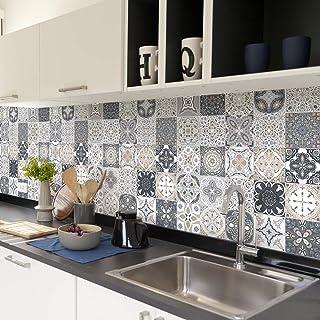 Ambiance col-tiles-RJ-A625_10x10cm Carrelage Adhésif-Sticker Autocollant Carreaux de Ciment, Vinyle, Gris, 10x10 cm