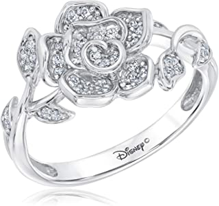 Disney Enchanted Fine Jewelry Belle's Rose Sterling Silver Ring 1/4ctw